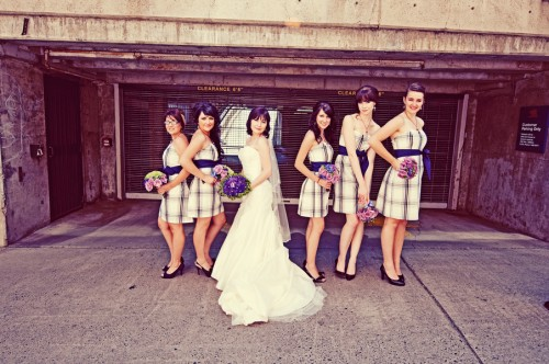 Blue Plaid Bridesmaids Dresses