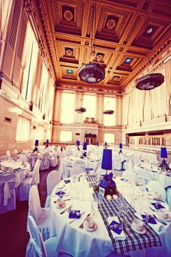 Blue and Gold Wedding Reception