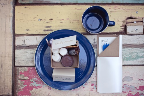 Blue and Kraft Paper Camping Theme Wedding Place Setting