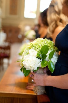 white and green hydrangea bridesmaids bouquet