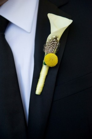 Calla Lilly Feather Black and Yellow Boutonniere