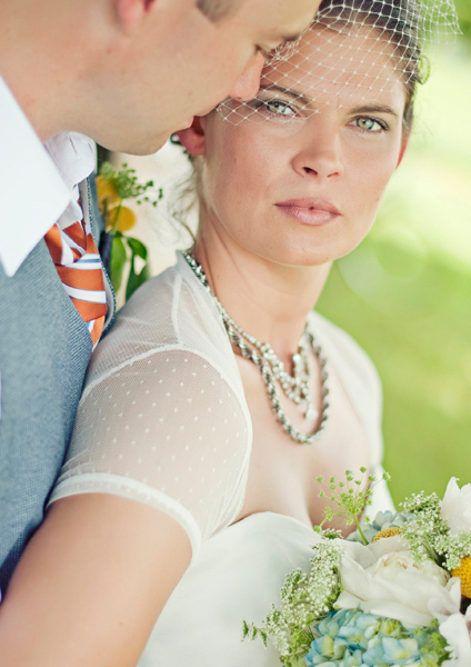 Colorful Vintage-Inspired Bride and Groom