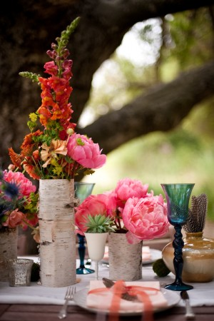 Coral and Pink Centerpiece Birch Covered Vases