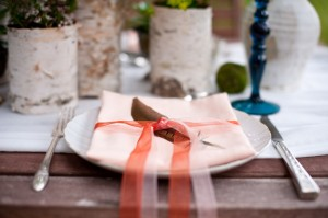Feather and Ribbon at Place Setting