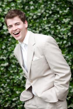 Groom in Tan Suit