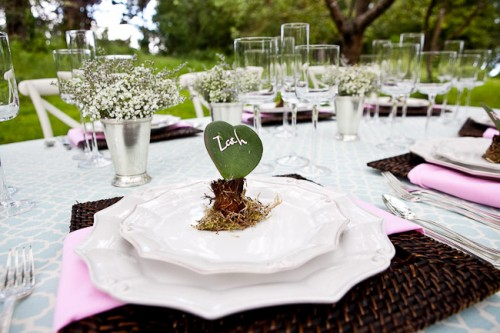 Heart Shaped Succulents Wedding Place Setting