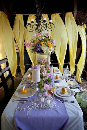 Lavender and Yellow Wedding Tabletop