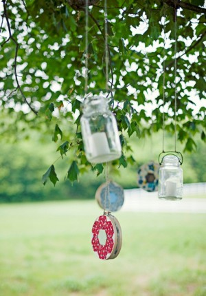 Mason Jars Strung from Trees