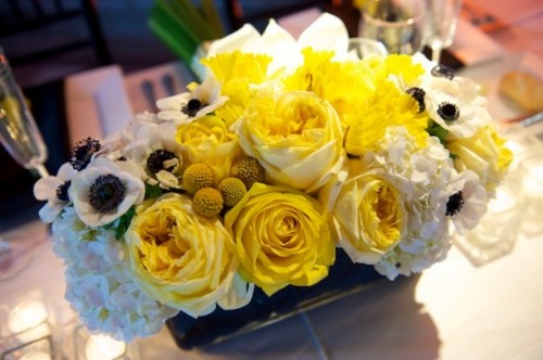 Modern Yellow Rose Anemone Wedding Centerpiece