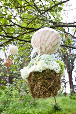 Moss and Fabric Tree Decor