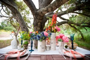 Multicolored Flowers in Birch Covered Vases