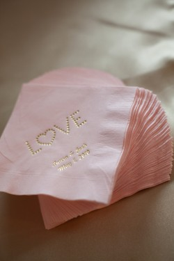 Personalized Pink and Gold Napkins