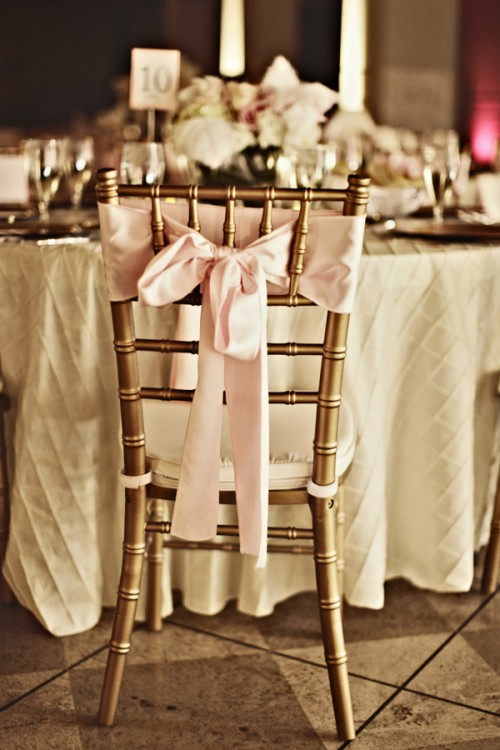 Pink Bow with Gold Chiavari Chair Elizabeth Anne Designs The