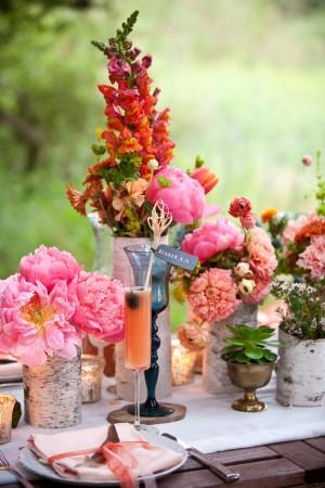 Pink Orange and Coral Garden Centerpiece