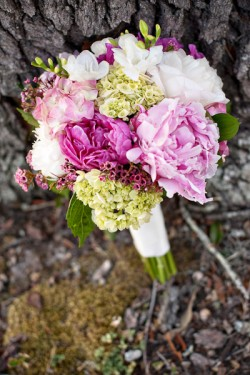Pink Peony Hydrangea Hand Tied Bridal Bouque