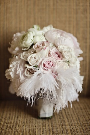Pink and White Feather Bridal Bouquet