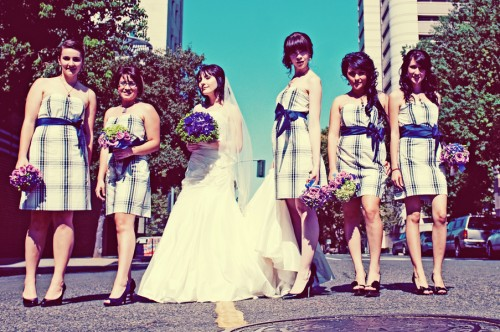 Plaid Bridesmaids Dresses