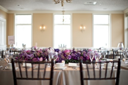 Estate Table with Purple Centerpiece