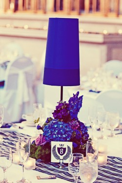 Purple Lamp Centerpieces