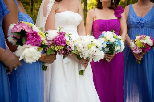 Purple and Blue Chiffon Bridesmaid Dresses