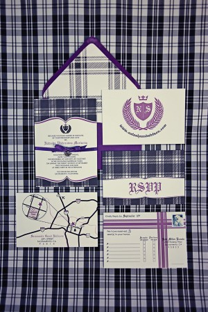 Purple and Blue Plaid Wedding Invitations