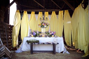 Purple and Yellow Barn Wedding Ideas