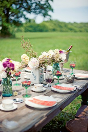 Rustic Blue and Green Wedding Tabletop
