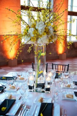 Tall Yellow Centerpiece with Branches