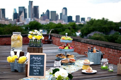 Urban Rooftop Picnic Wedding Theme Ideas