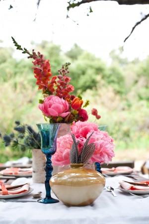 Vibrant Poppy and Peony Centerpiece