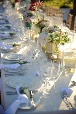 White and Green Wedding Table Decorations