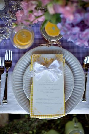 Yellow Gingham Wedding Menu