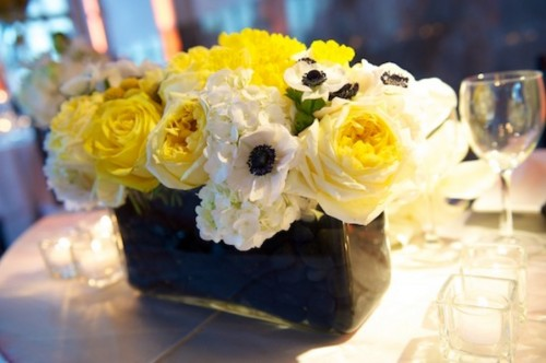 Yellow Rose and Hydrangea Centerpiece