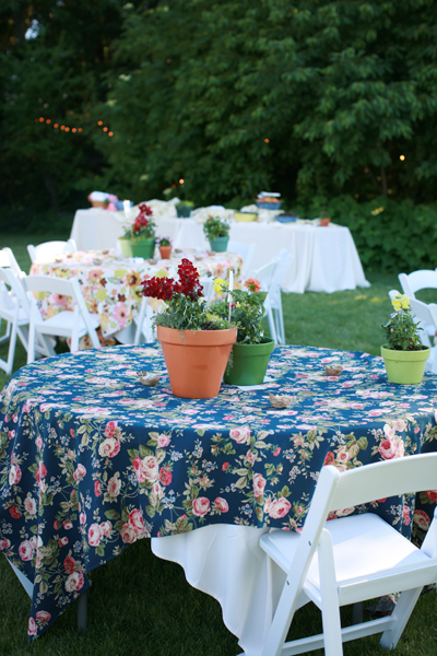 Backyard Wedding Potted Plant Centerpieces