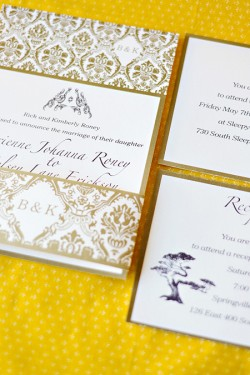 Gold Paisley Wedding Invitation Suite