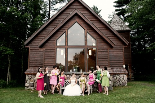 Mismatched Pink and Green Bridesmaids
