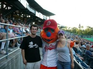 Jon and me with Scooch, the Syracuse Skychiefs mascot, a few weeks into graduate school