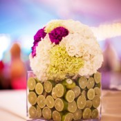 Wedding-Centerpiece-Limes-and-Hydrangeas