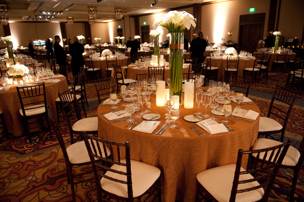 Brown And Gold Wedding Ideas: White And Bronze Wedding Reception