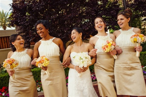 White-and-Gold-Bridesmaid-Dress
