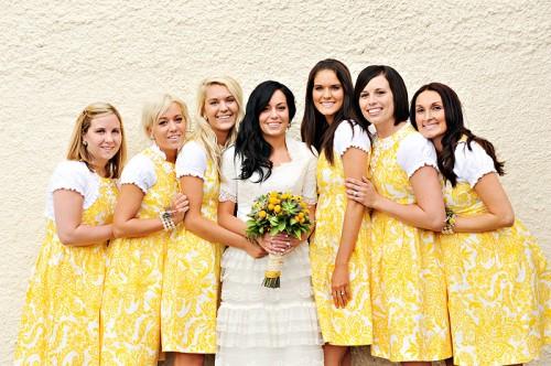 Yellow Paisley Bridesmaid Dress
