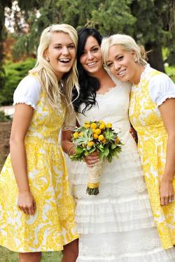 Yellow Paisley Bridesmaid Dresses