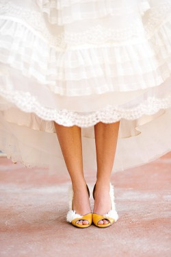 Yellow and White Feather Bride Shoes