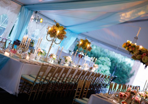 Blue-and-Gold-Tented-Wedding-Reception