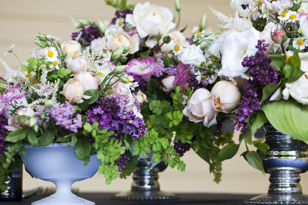 Cluster Purple and Green Centerpiece