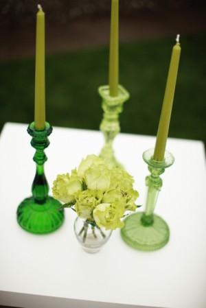 Green Glass Candlesticks