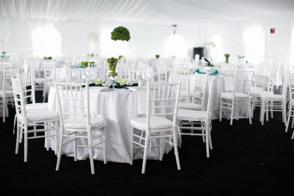 Modern White and Green Wedding Reception