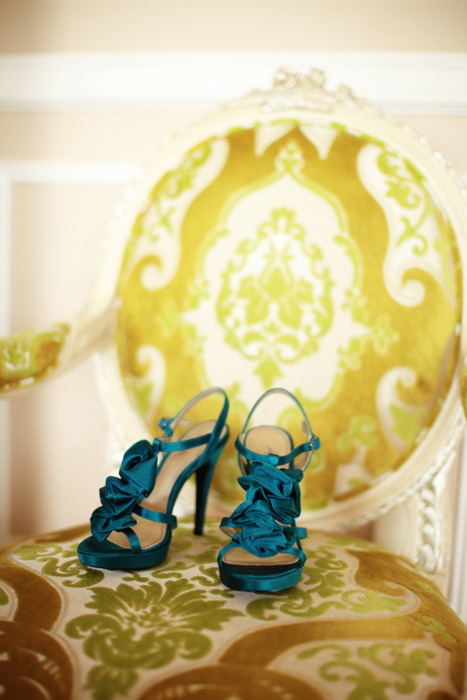 Turquoise Satin Shoes
