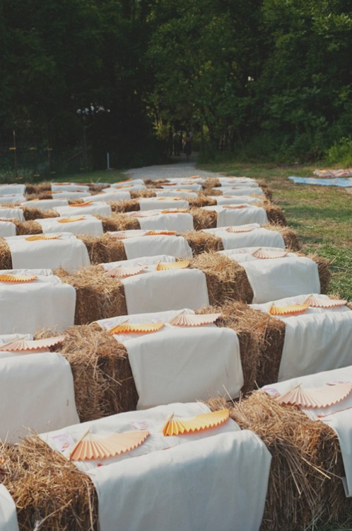Wedding Ceremony Seating Hay Bales