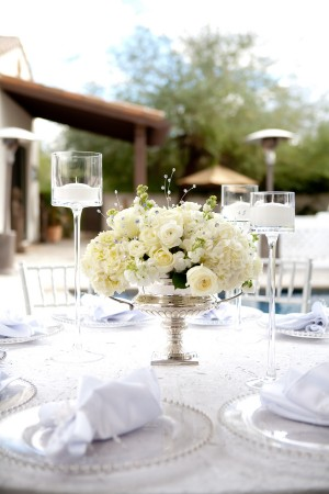White-Rose-Centerpiece-in-Silver-Vase